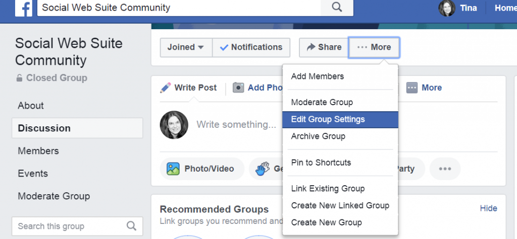 Edit group settings Facebook