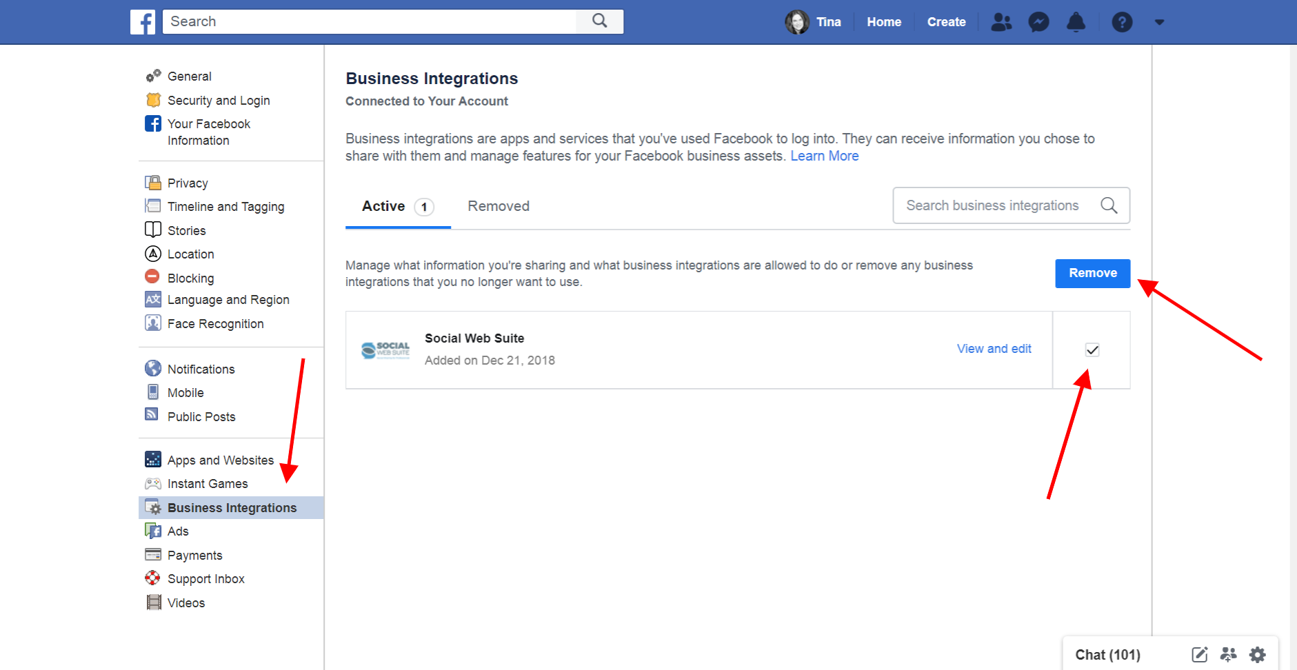 Remove Social Web Suite from Facebook