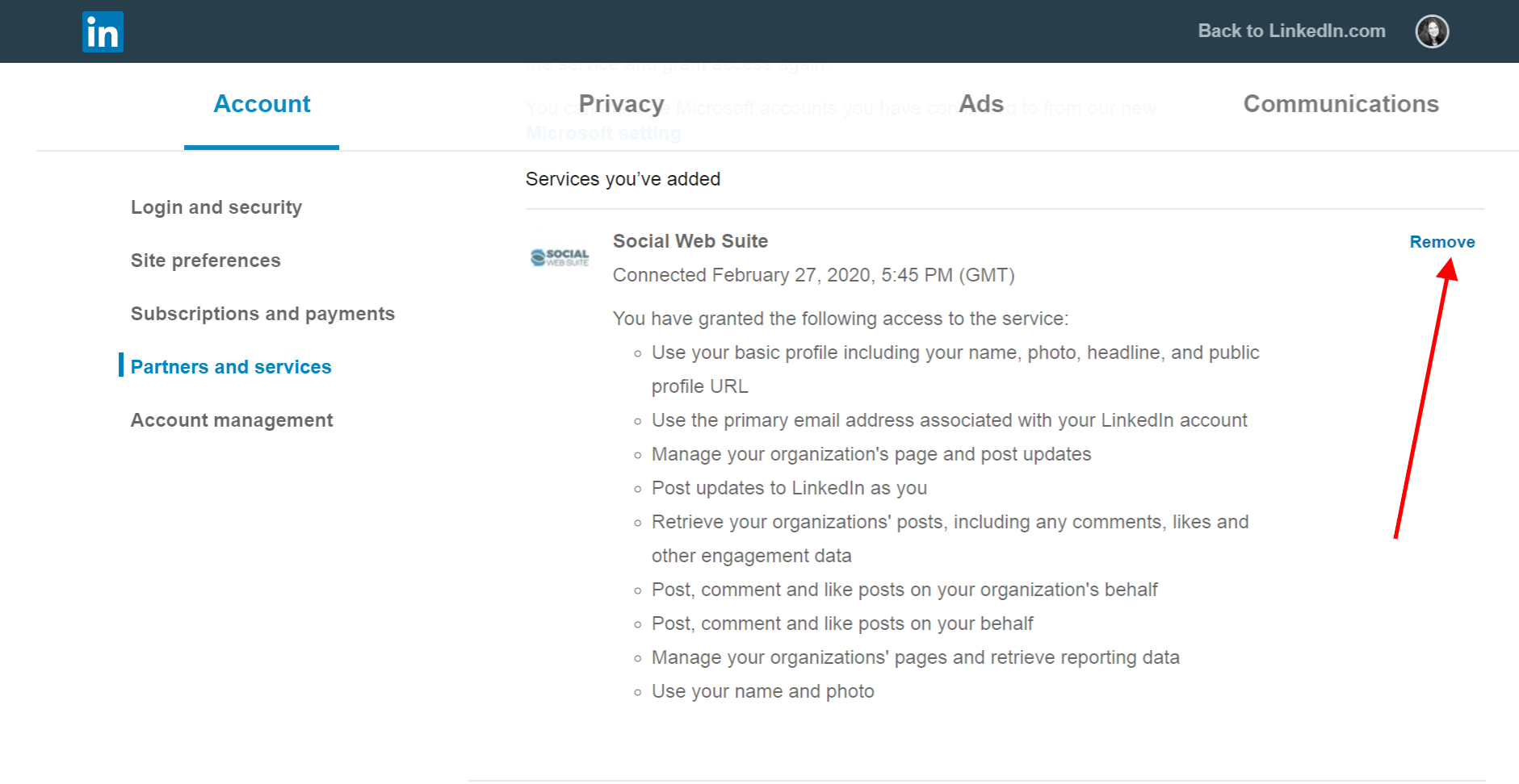 Remove Social Web Suite from LinkedIn