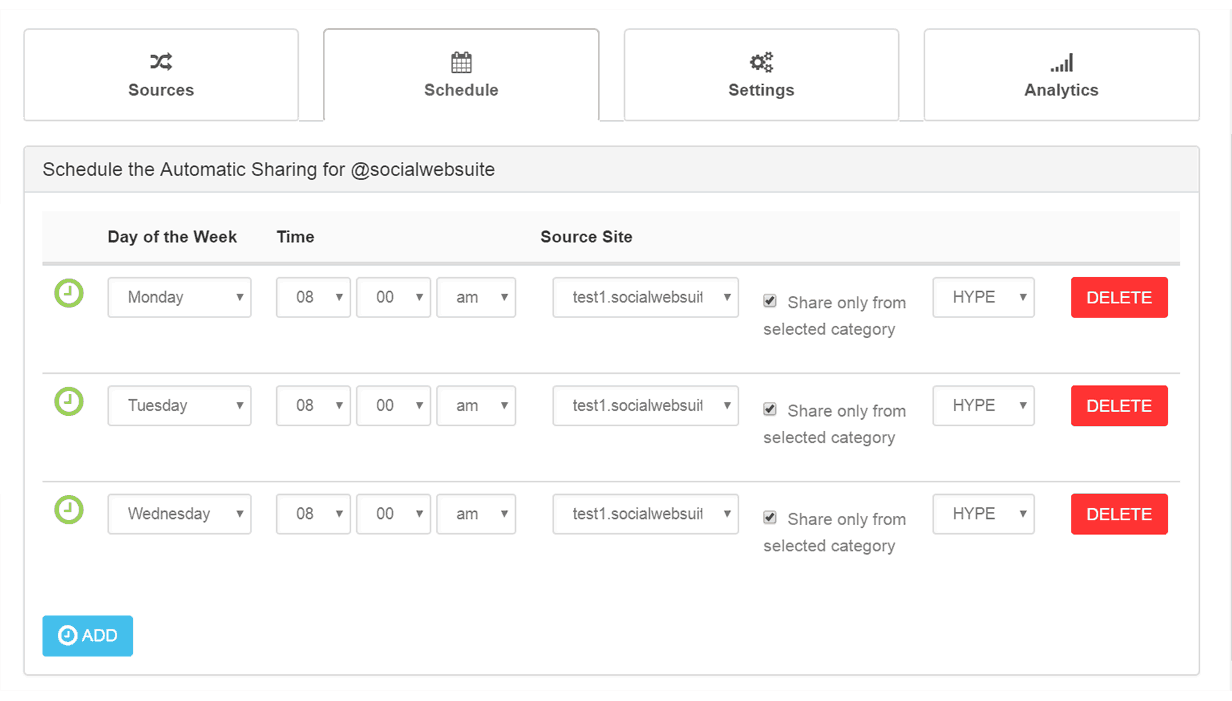 CREATE CONNECTION WITH SCHEDULED CATEGORIES