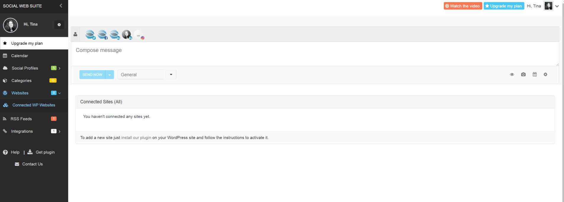 WordPress websites list on SWS dashboard