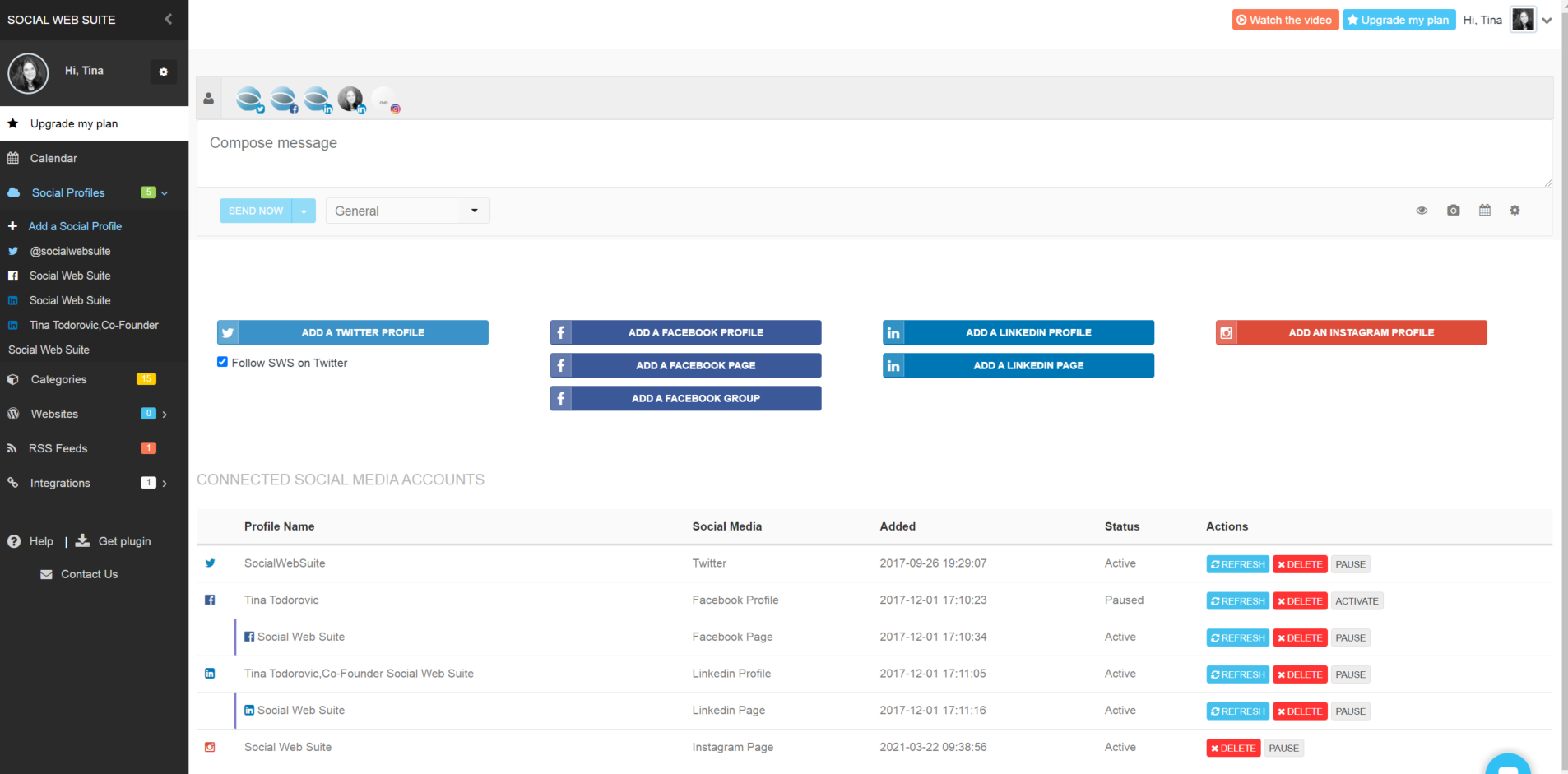 social profiles adding and list SWS dashboard